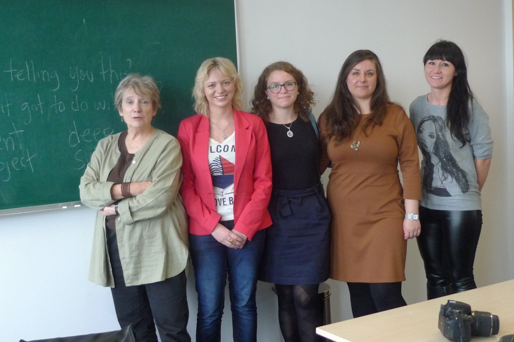 Myrna visited the University of Szczecin in Poland in October 2013, gave a lecture on her work to students and faculty of Canadian Studies and a workshop on creative nonfiction with these four students. From left to right the women are: Claudia, Kinga, Agnieszka, Alina. Thanks to their professor, Dr. Weronika Suchacka!